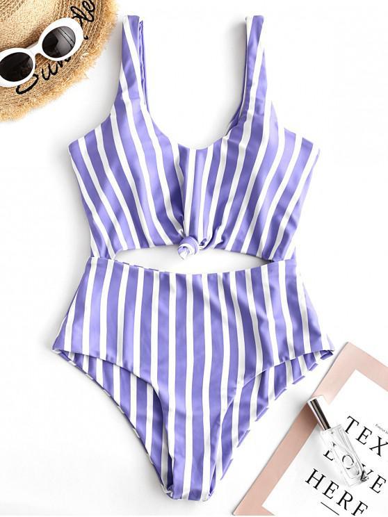 best ZAFUL Striped Knotted Monokini Swimsuit - MULTI-A XL