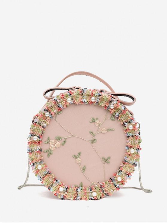 圓形蕾絲花朵刺繡單肩包 - 淺粉色
