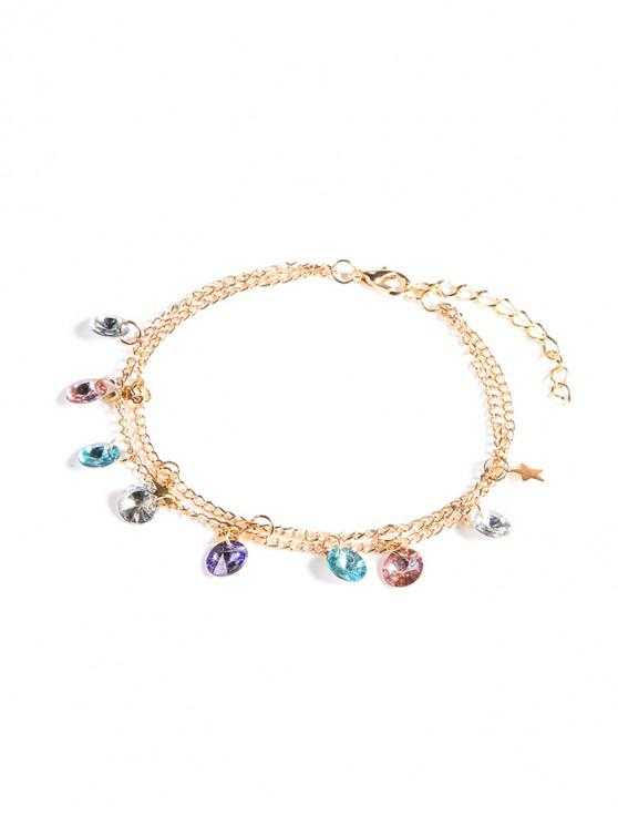 buy Double Layer Faux Crystal Chain Anklet - GOLD