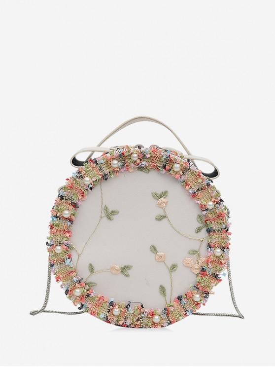 圓形蕾絲花朵刺繡單肩包 - 白色