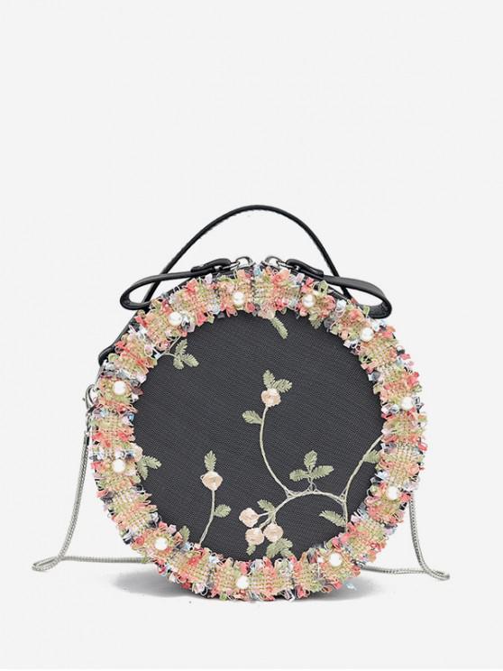 圓形蕾絲花朵刺繡單肩包 - 黑色