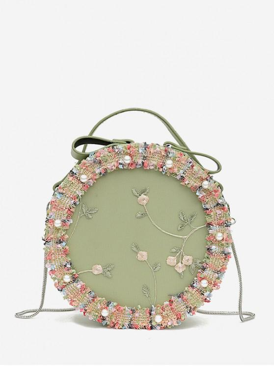 shop Round Lace Flower Embroidered Shoulder Bag - SEA GREEN