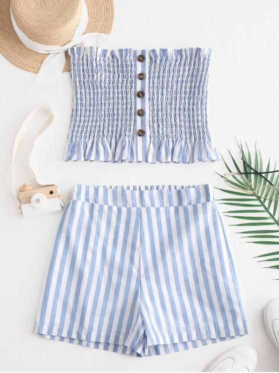 sale ZAFUL Buttons Smocked Striped Top and Shorts Set - LIGHT BLUE M