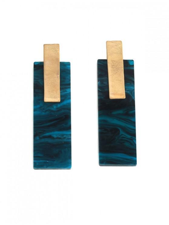 affordable Geometric Marble Acrylic Long Earrings - SILK BLUE