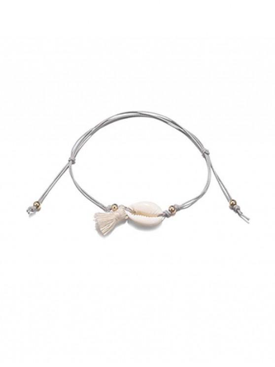 ladies Adjustable Shell Fringe Rope Anklet - GRAY
