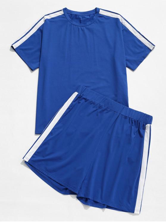womens ZAFUL Racing Stripes Panel Sports Tee And Shorts Set - COBALT BLUE L