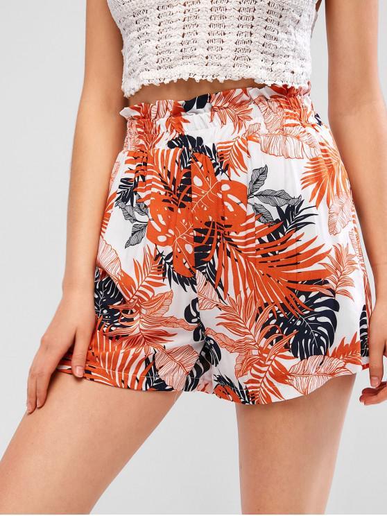 shops Leaves Print Casual Paperbag Shorts - BASKET BALL ORANGE S