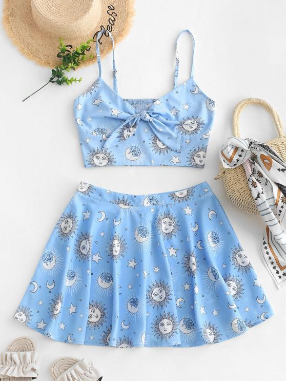 women ZAFUL Knotted Smocked Star Sun And Moon Top And Skirt Set - LIGHT SKY BLUE S