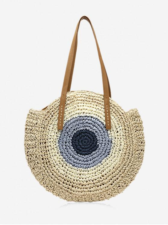 chic Color Block Straw Round Shoulder Bag - BEIGE