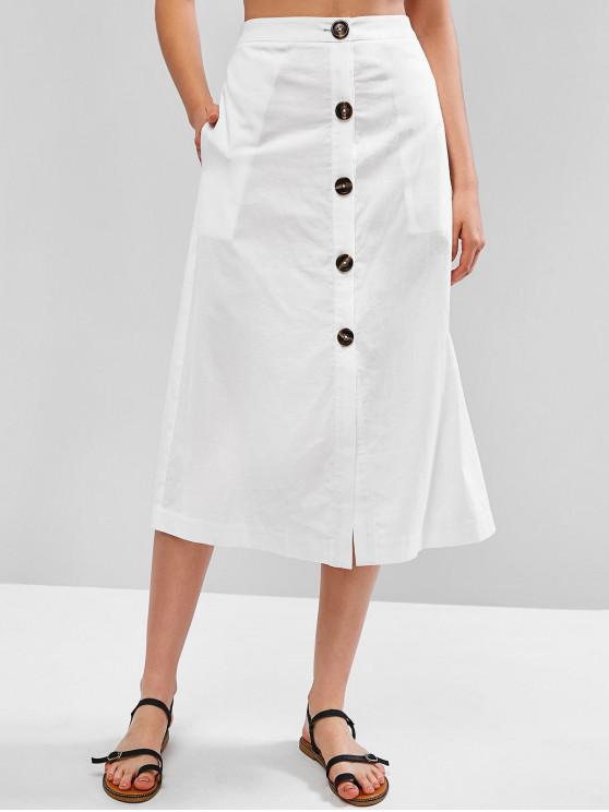 hot ZAFUL Button Up Plain Maxi Skirt - WHITE L