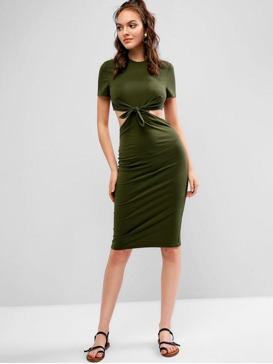 hot ZAFUL Cut Out Knotted Knee Length Bodycon Dress - DARK GREEN L