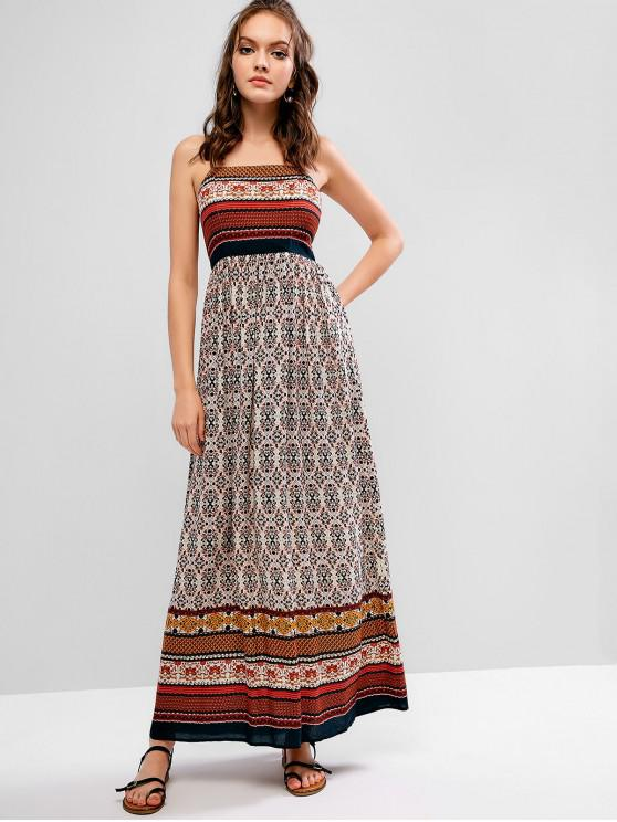 hot ZAFUL Cut Out Floral Long Cami Bohemian Dress - MULTI S