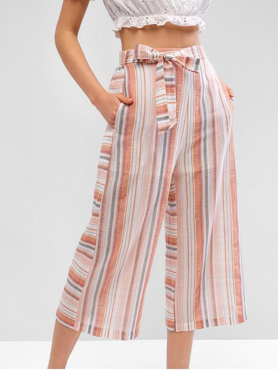 outfit ZAFUL Casual Striped Pocket Capri Belted Pants - LIGHT SALMON L
