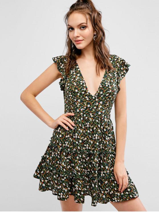 latest ZAFUL Ditsy Print Plunge Ruffled Mini Dress - MULTI M