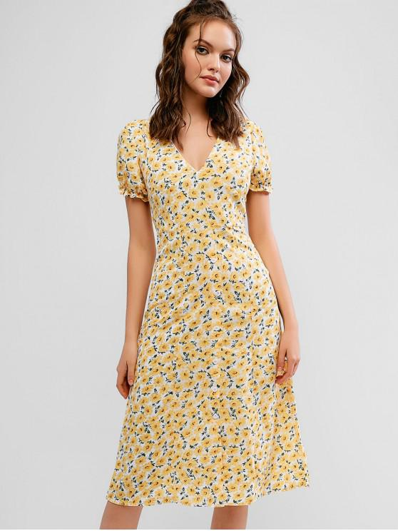 sale Half Buttoned Floral A Line Midi Dress - YELLOW S