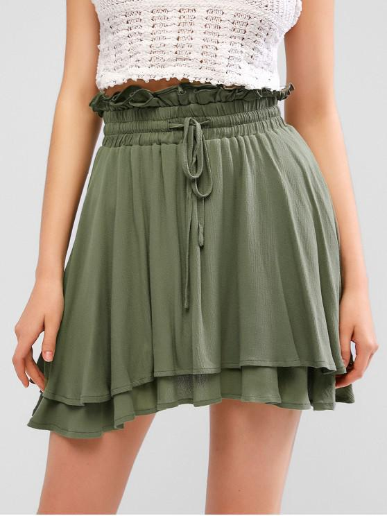 outfits ZAFUL Double Layer Drawstring Paperbag Frilled Skirt - GRAYISH TURQUOISE S