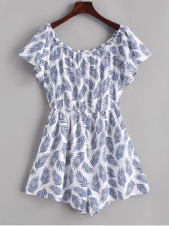 buy ZAFUL Leaf Print Elastic Waist Wide Leg Romper - WHITE M