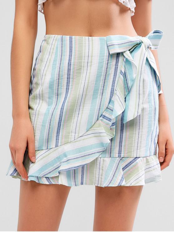 sale ZAFUL Overlap Stripes Ruffles Mini Skirt - MULTI L