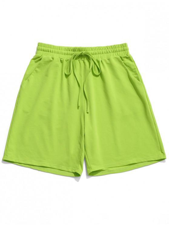 ZAFUL نيون جيب الرباط الخصر السراويل عارضة - الفستق الأخضر L