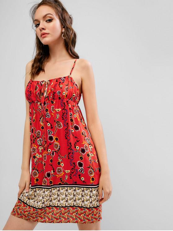 affordable ZAFUL Floral Keyhole Cami Dress - LAVA RED M