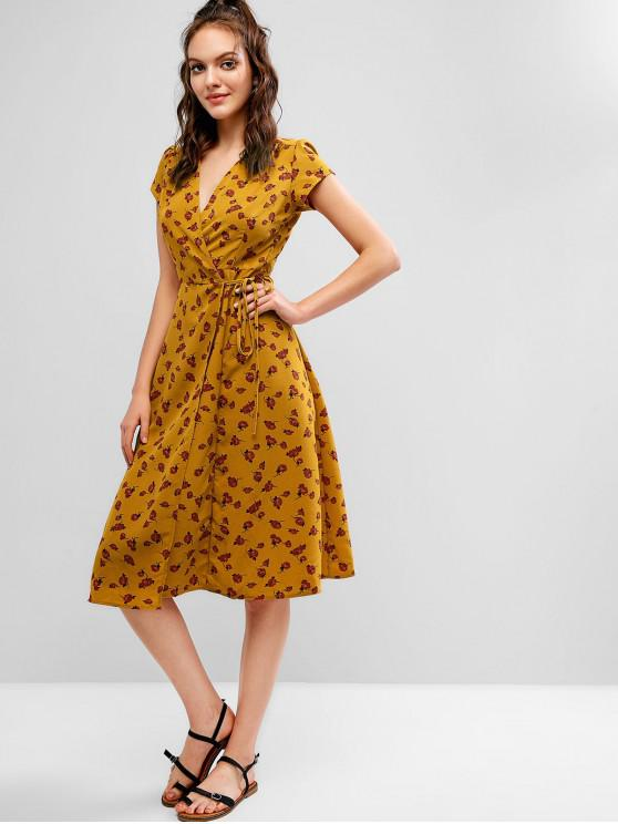 latest V Neck Floral Wrap A Line Dress - YELLOW L