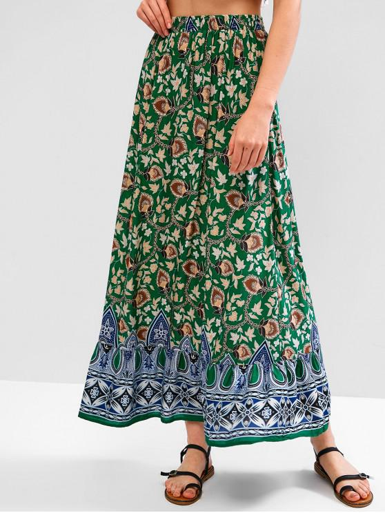 outfit ZAFUL A Line Mixed Flower Maxi Bohemian Skirt - MULTI L