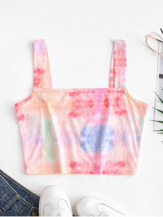 lady ZAFUL Square Neck Tie Dye Crop Tank Top - MULTI XL