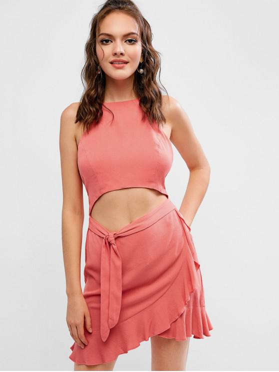 affordable ZAFUL Cutout Knot Ruffle Halter Dress - FLAMINGO PINK L