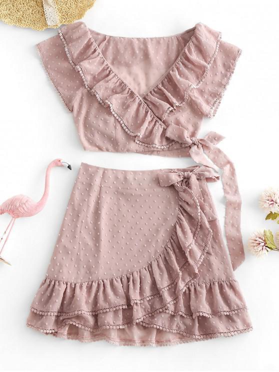 hot ZAFUL Crochet Trim Swiss Dots Wrap Top And Ruffles Skirt Set - ROSE M