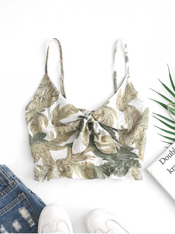 ladies ZAFUL Tie Front Leaves Print Ruffles Cami Top - MULTI S