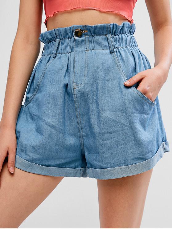 lady ZAFUL Rolled Hem Chambray Pocket Paperbag Shorts - LIGHT BLUE M