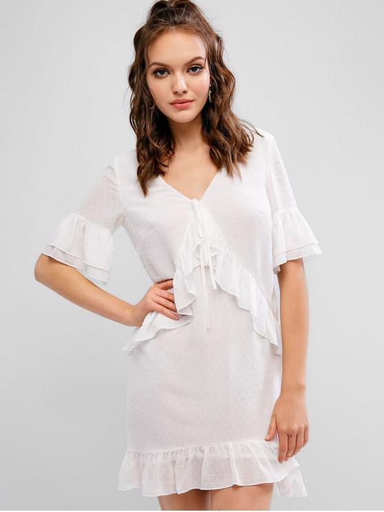 shop ZAFUL Swiss Dot Plunging Ruffle Dress - MILK WHITE M