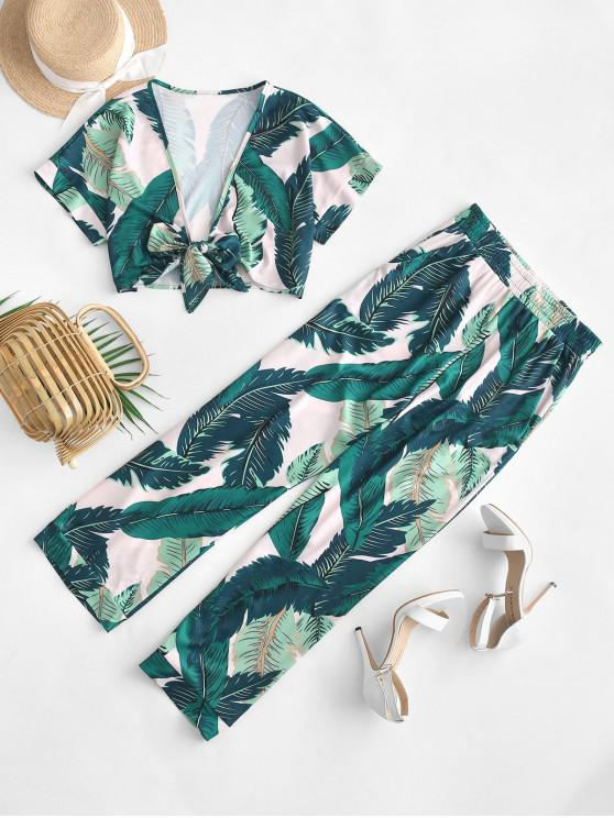 unique Leaves Print Knotted Crop Top and Pants Set - MULTI L