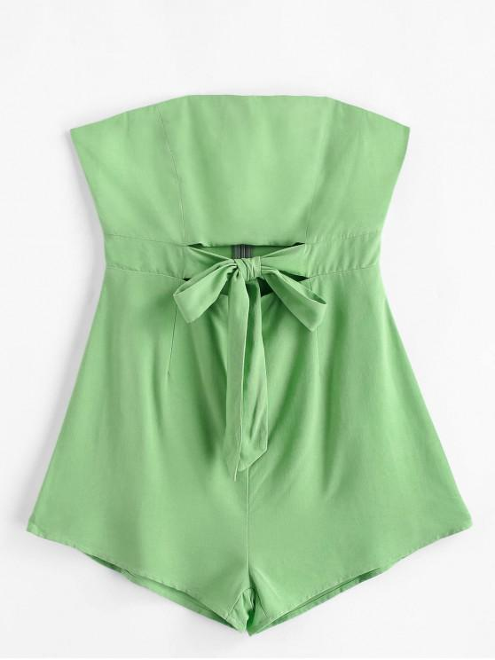 womens ZAFUL Knot Front Cut Out Strapless Romper - MINT GREEN S