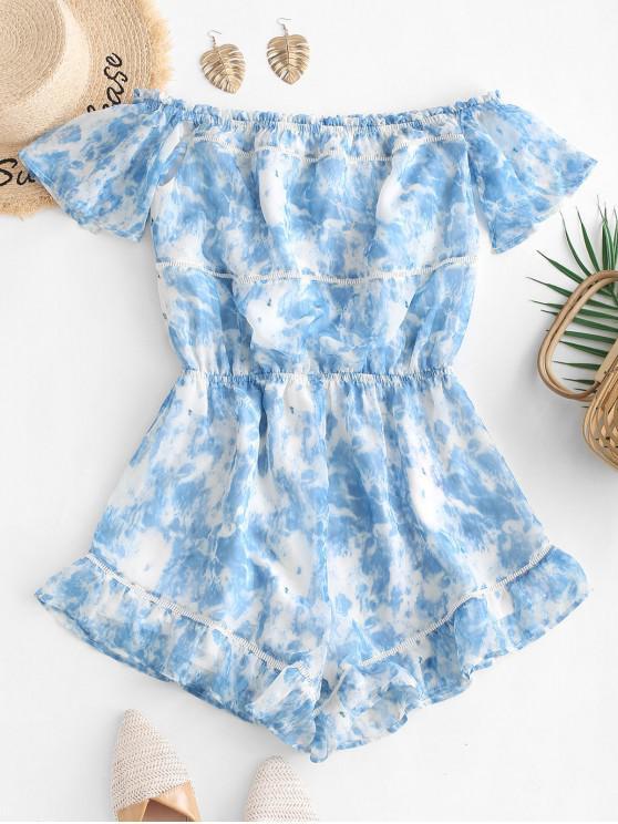 affordable ZAFUL Ruffles Off Shoulder Tie Dye Romper - SLATE BLUE L