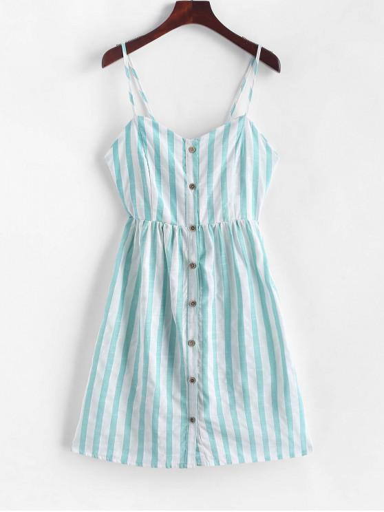 best Knotted Back Buttoned Striped Cami Dress - MEDIUM TURQUOISE S