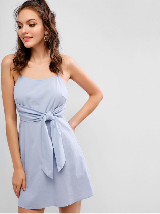 women ZAFUL Knotted Mini A Line Cami Dress - SEA BLUE L