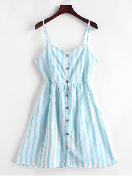lady Knotted Back Buttoned Striped Cami Dress - TRON BLUE XL