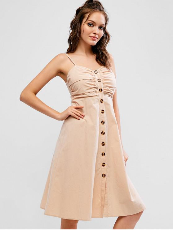 6236eeed43 28% OFF] [NEW] 2019 ZAFUL Button Up Smocked Back Ruched Cami Dress ...