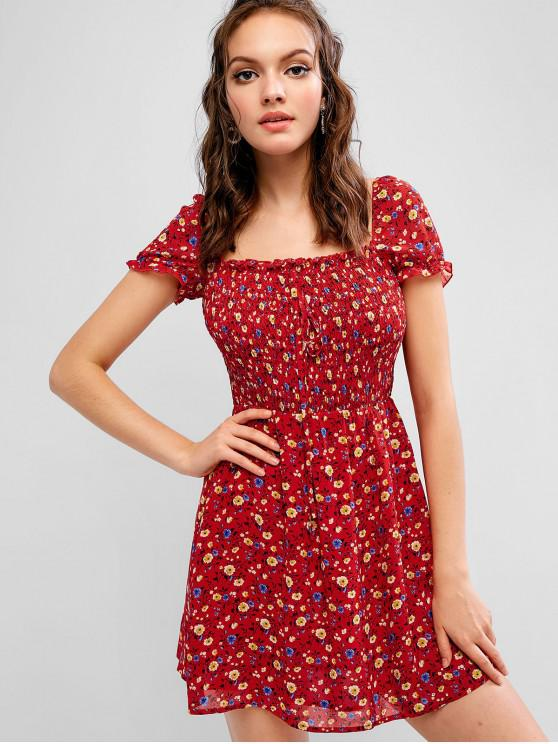 latest ZAFUL Ditsy Floral Chiffon Smocked Milkmaid Dress - RUBY RED M