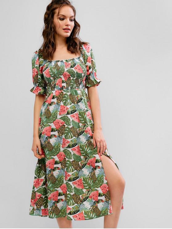 ZAFUL Sandía Piña Smocked Midi Milkmaid Dress - Multicolor M