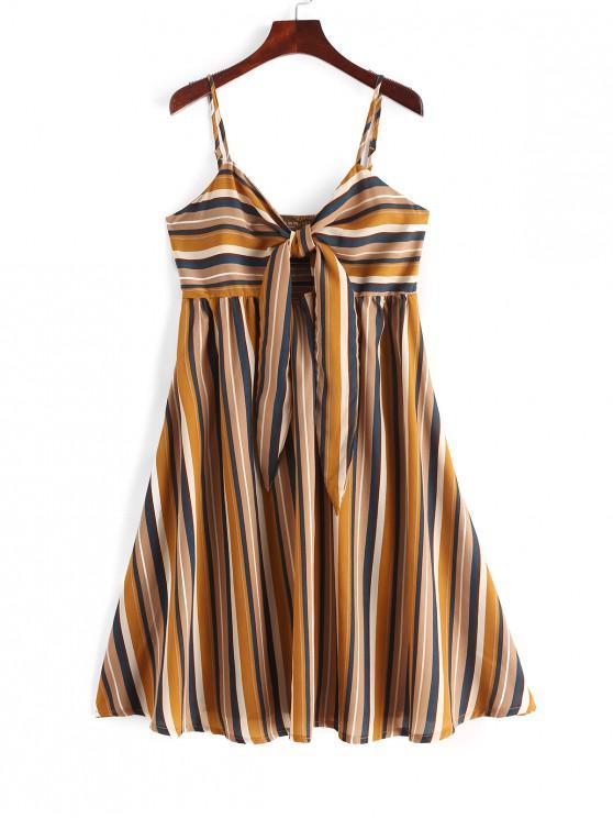 online Tie Front Smocked Stripes Cami Dress - MULTI S