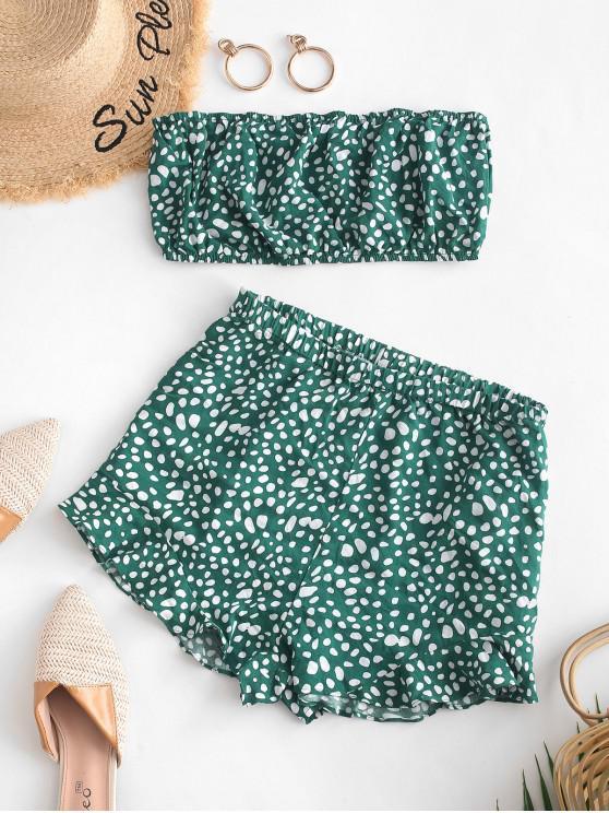 womens ZAFUL Ditsy Print Bandeau Top and Shorts Co Ord Set - MEDIUM AQUAMARINE L