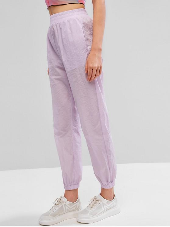shops ZAFUL High Waist Plain Jogger Pants - LILAC S
