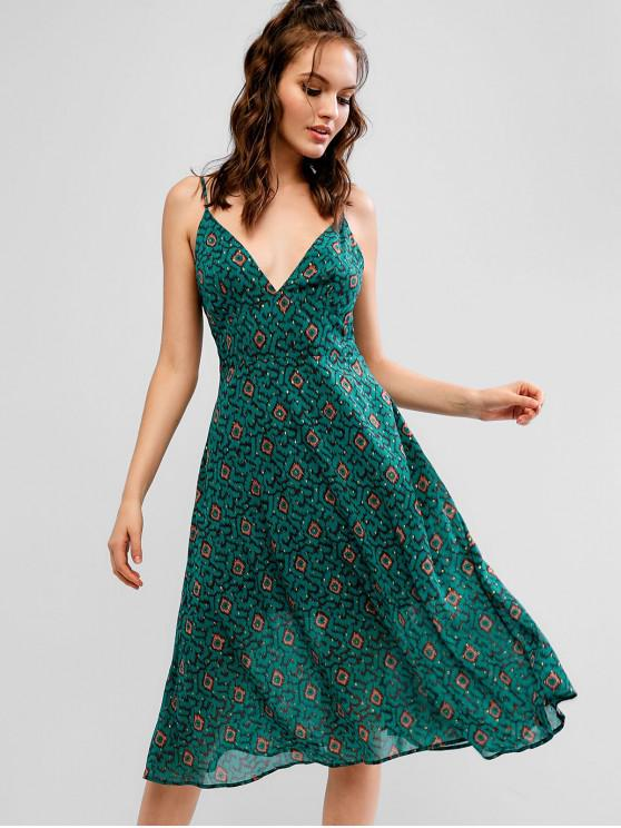 trendy ZAFUL Graphic Cami Sleeveless Dress - GREENISH BLUE M
