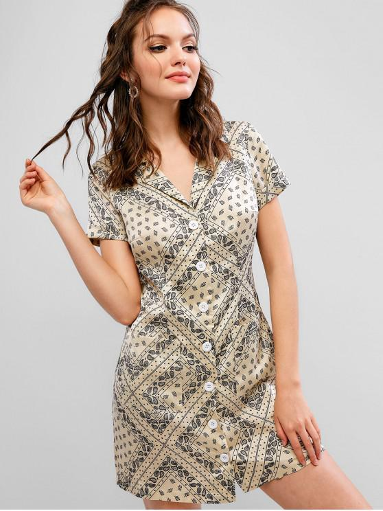 affordable ZAFUL Button Up Paisley Lapel Pocket Dress - WARM WHITE M