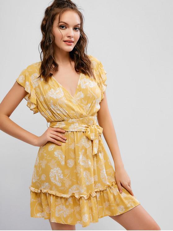 fashion ZAFUL Surplice Flower Ruffled Flounce Belted Dress - GOLDENROD L
