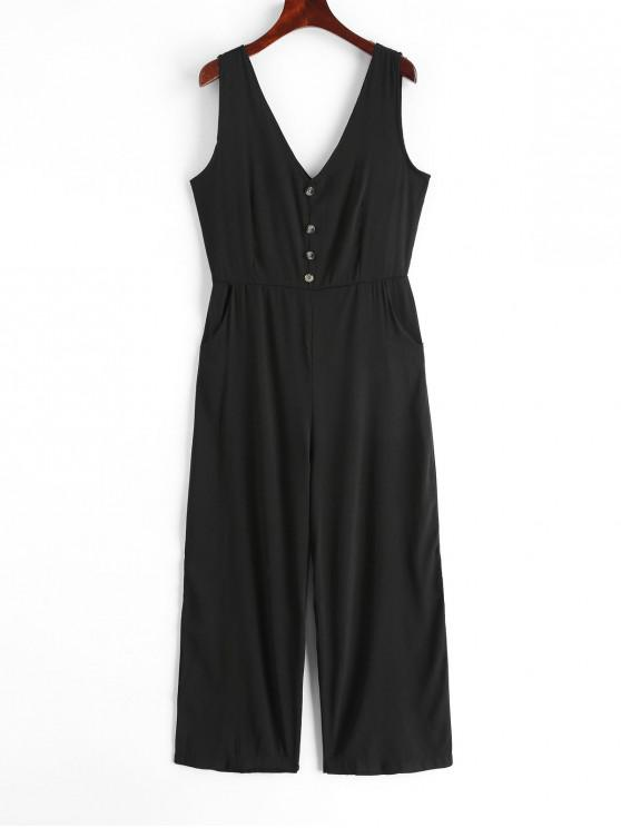 womens V Neck Buttons Solid Wide Leg Jumpsuit - BLACK XL