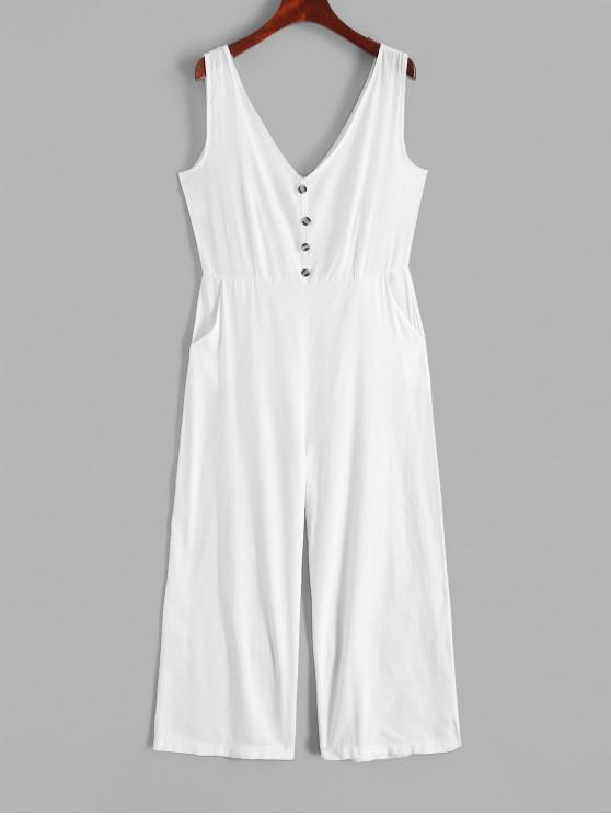 shops V Neck Buttons Solid Wide Leg Jumpsuit - WHITE M