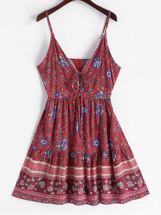 trendy Floral Print Lace Up Flared Cami Dress - CHERRY RED XL